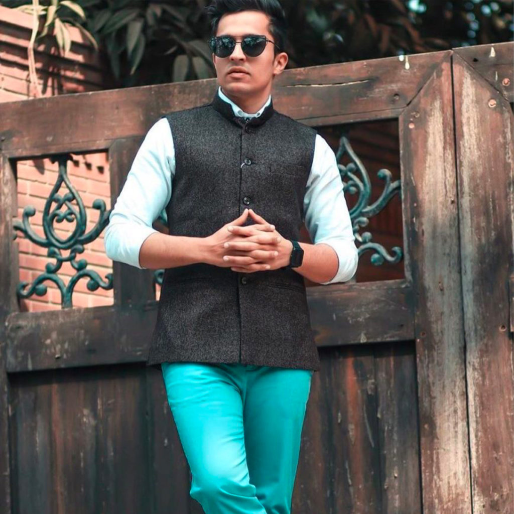 traditional look with green chinos