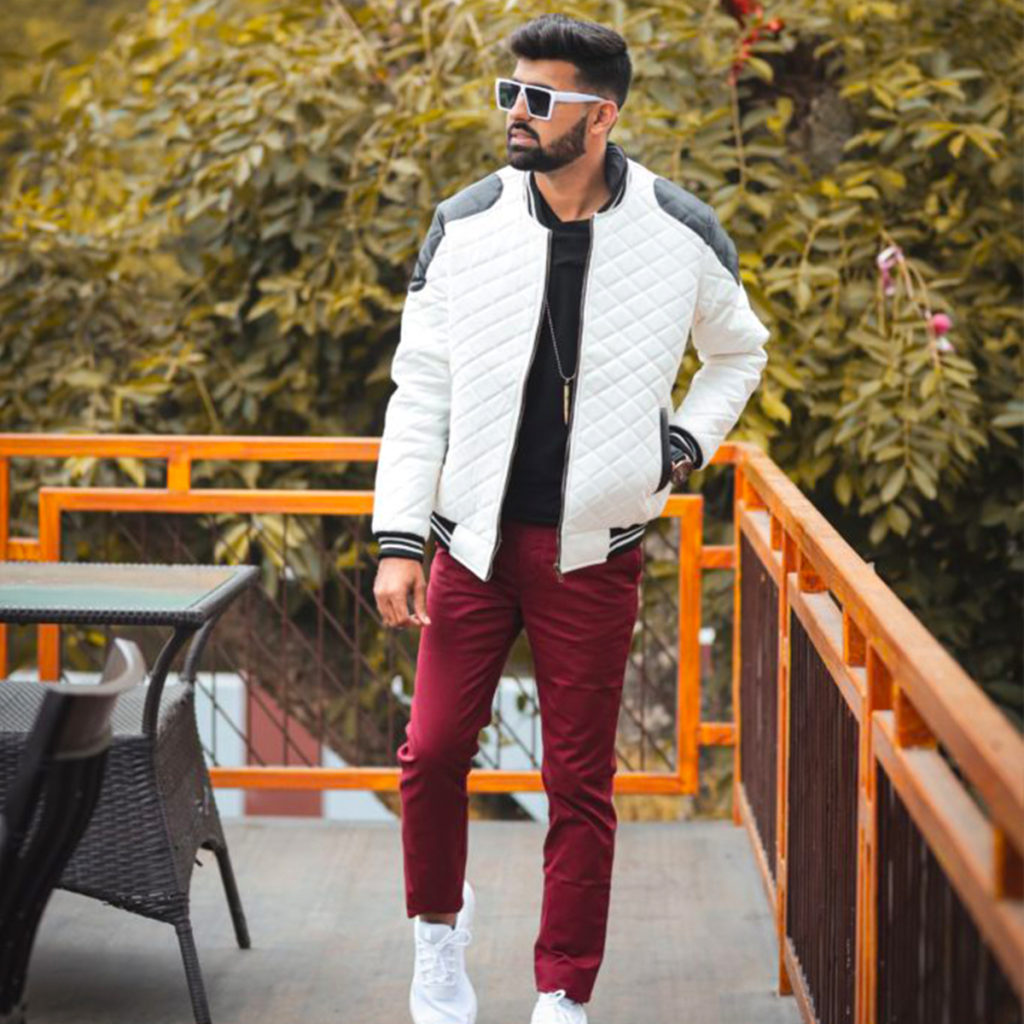maroon paired with white jacket
