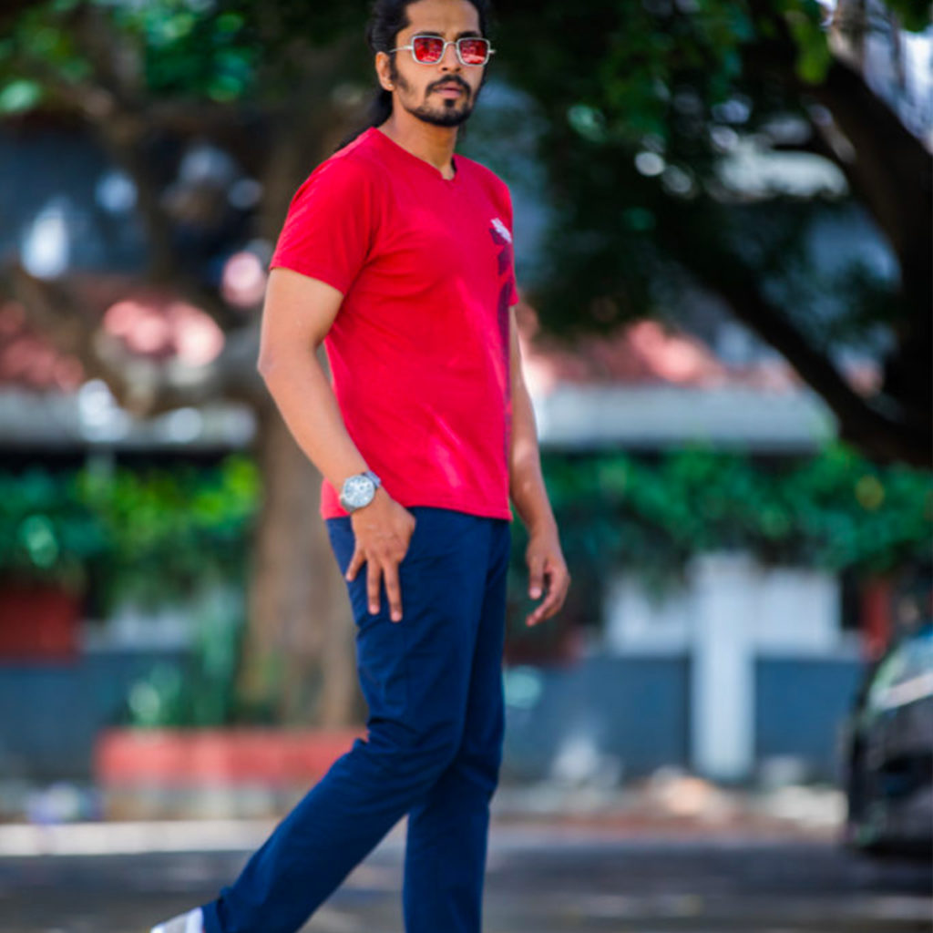 day look with navy trouser color for Men