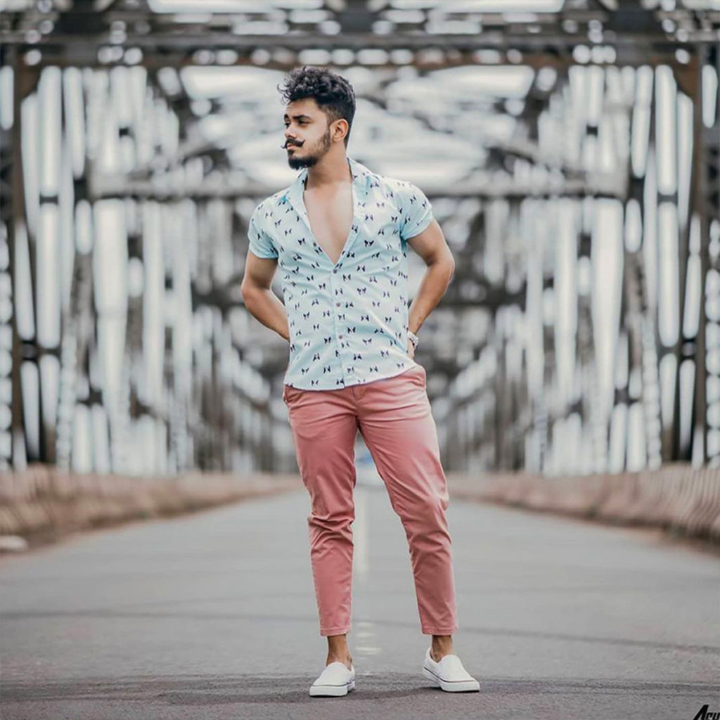 casual button down with pink chinos